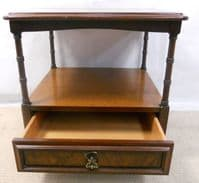 SOLD - Walnut Two Tier Square Lamp Table